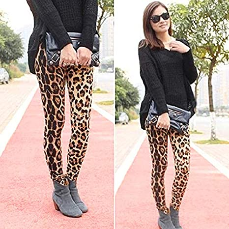 6357a315abfc Amazon.com: Orangeskycn Women Skinny Pants Stretch Leopard Print Elastic  Waist Trousers: Clothing