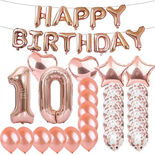Sweet 10th Birthday Decorations Party Supplies,Rose Gold Number 10 Balloons,10th Foil Mylar Balloons Latex Balloon Decoration,Great 10th Birthday Gifts for Girls,Women,Men,Photo Props]()