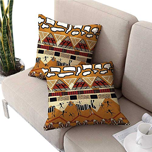 (warmfamily PrimitiveCushion CoverTribal Ethnic African Hunting Zebra Spear Arrow Prehistoric Tribe Life Themesofa Pillow Covers 28