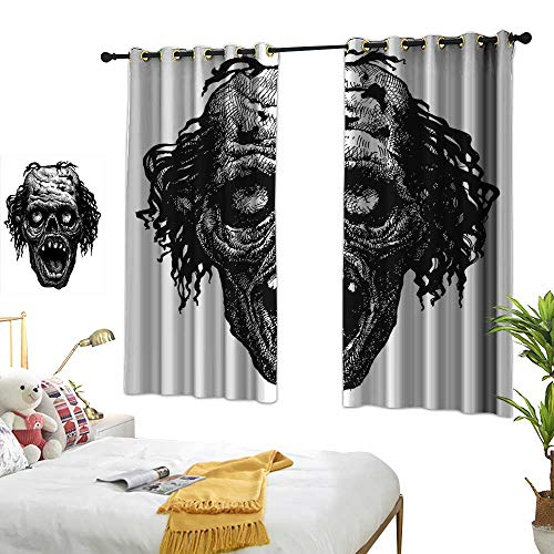 BlountDecor Printed Curtain Halloween Zombie Head Evil Dead Man Portrait Fiction Creature Scary Monster Graphic Simple Style 55