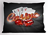 Lunarable Poker Tournament Pillow Sham, Vibrant Dices and Playing Cards Casino Themed Luck Risky Games Design, Decorative Standard Queen Size Printed Pillowcase, 30 X 20 inches, Multicolor