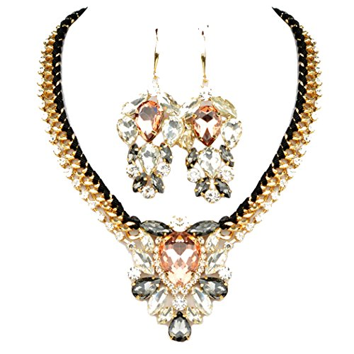 Pearl Diver Costume (Veenajo Womens Bling Luxury Alloy Crystal Artificial Chunky Pendant Necklace Wedding Earrings Set-gold)