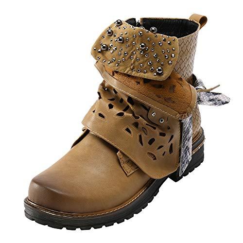 Boucle Les Brun Tpulling Cowgirl Boots out Oxford Bottes À Boot Fourrure Pearl Cuir Semelle dérapante Femmes Mode Anti Glissière Fermeture En Creux Côté Hiver UvIXIgr