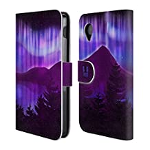 Head Case Designs Purple Lake View Northern Lights Leather Book Wallet Case Cover For LG Nexus 4 E960