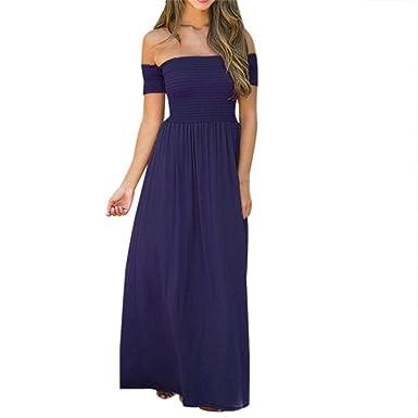 POLP Mujeres Vestido Largo ◉ω◉ Vestidos Mujer Verano 2018 Color sólido Falda Verano para Sin Hombro Elegantes Tallas Grandes Vestidos, Fiesta Falda Un ...
