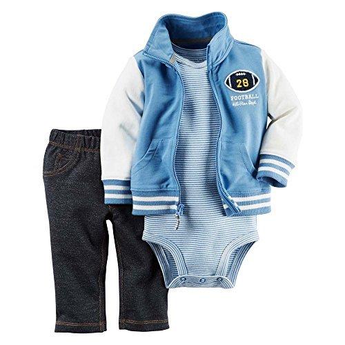 Carter's Baby Boys 3-Piece Short-Sleeve Safari Bodysuit, Football, Newborn (Newborn Boy Carters Football)