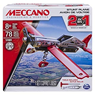 Erector by Meccano, 2-in-1 Stunt Plane Model Building Kit, 78 Pieces, For Ages 8 and up, STEM Construction Education Toy