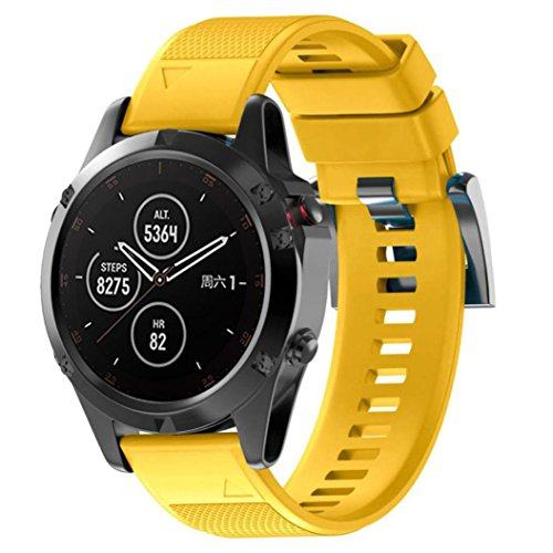Price comparison product image Garmin Fenix 5 Plus Bands,  Silicone Watch Strap Bracelet Quick Install Replacement Wristband with Metal Clasp for Garmin Fenix 5 Plus GPS Watch (Yellow)