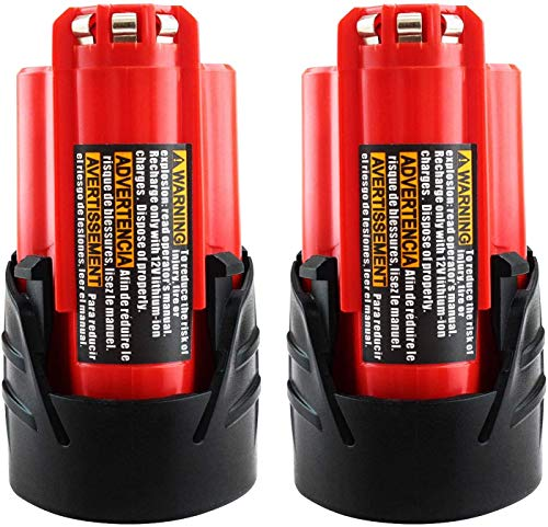 2Packs 12V 3000mAh Lithium-ion Replacement Battery for Milwaukee M12 Battery Compatible with 48-11-2402 48-11-2440 48-11-2411 48-11-2401 XC Cordless Drill Batteries
