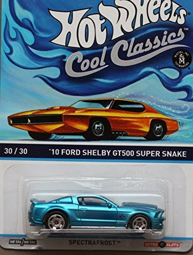 HOT WHEELS COOL CLASSICS BLUE '10 FORD SHELBY GT500 SUPER SNAKE WITH PICTURE OF ORANGE CAR ON PACKAGE