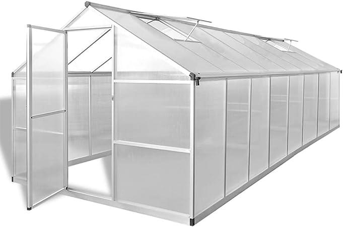 UnfadeMemory Invernaderos de Jardín,Invernadero Caseta para Cultivo Frutas,Verduras y Plantas,Marco de Aluminio,Paneles de Policarbonato,Aislamiento Térmico (481x250x195cm,23,44m³): Amazon.es: Hogar
