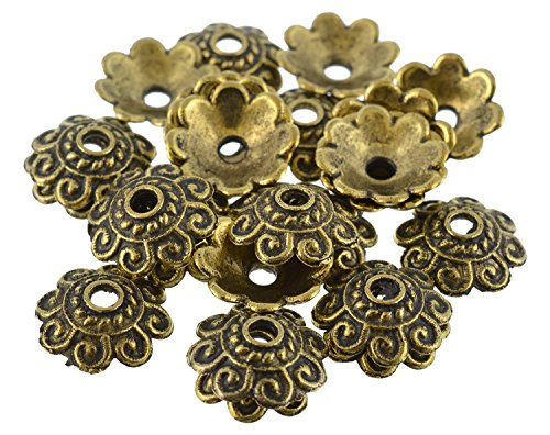 GOELX Gold Bead Caps Antique Finish For Jewelry Making Design - Gold Bead Antique Metal