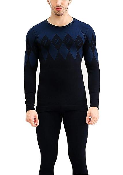 CWXDIAN Ropa Interior térmica de Autocultivo de otoño e Invierno de los Hombres Establece Slim Pantalones