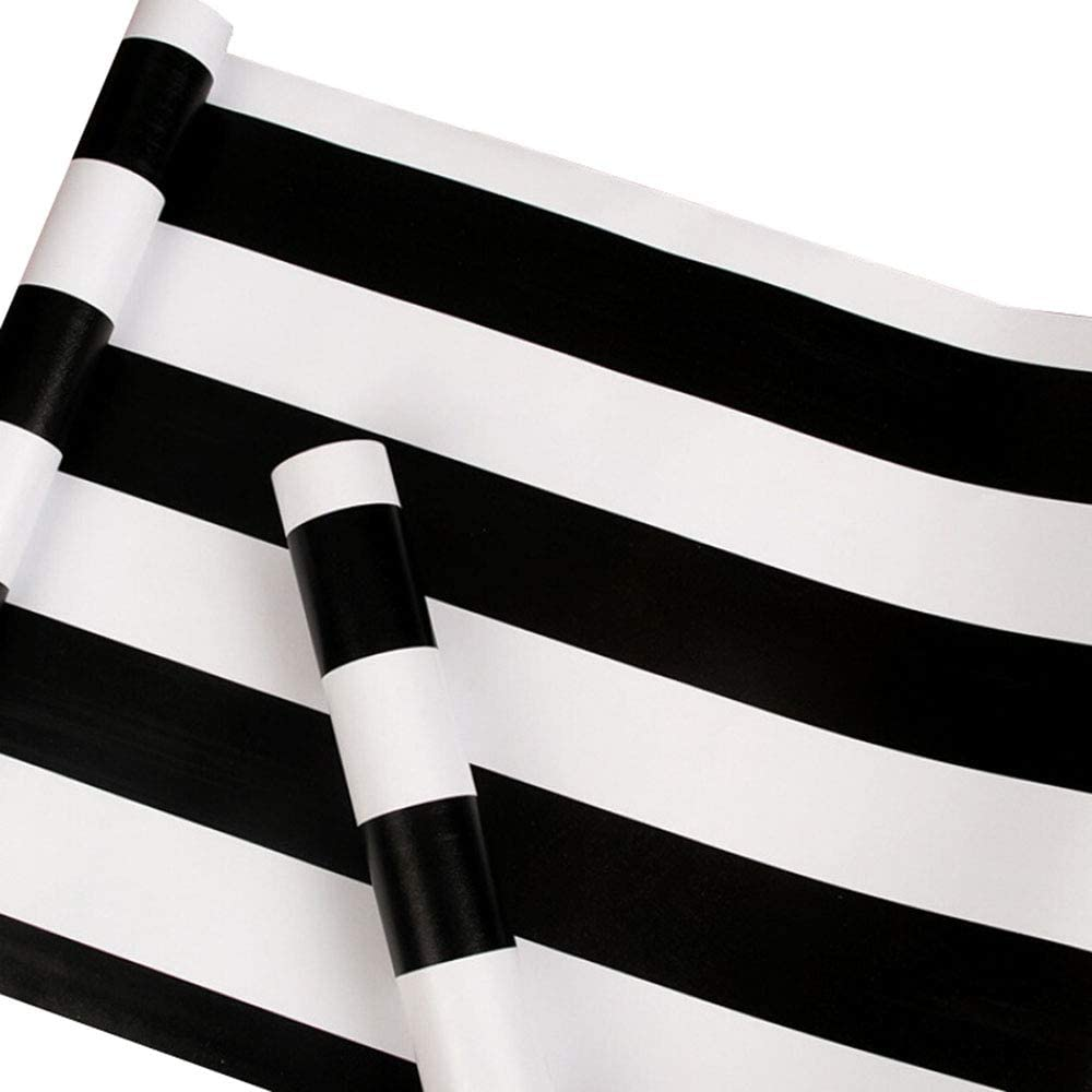Taogift Peel and Stick Vinyl Black and White Striped Wallpaper Contact Paper Self Adhesive Stripe Shelf Liner Dresser Drawer Cabinets Liner Furniture Wall Paper Sticker Removable (17.7x117 Inches)