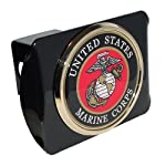 "United States US Marine Corps USMC ""Black with Gold Plated USMC Seal Emblem"" Metal Trailer Hitch Cover Fits 2 Inch Car Truck Receiver"