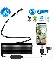 Endoscopio, Ihong Android OTG 5m impermeabile Snake HD video ispezione fotocamera endoscopio con 6luci LED di sicurezza cavo adatto per Samsung Galaxy/Sony/Nexus Android Smartphone e computer