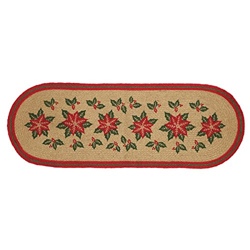 Christmas Holiday Tabletop & Kitchen - Poinsettia Jute Tan Runner, 13