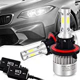 TURBOSII H13 9008 Led Headlight Bulbs 6500K 16000LM High/Low Beam COB Chips Conversion Kit W/ Anti Flicker Error Free Canbus Decoders HID or Halogen Headlight Replacement for Ford Pontiac Cruze Dodge