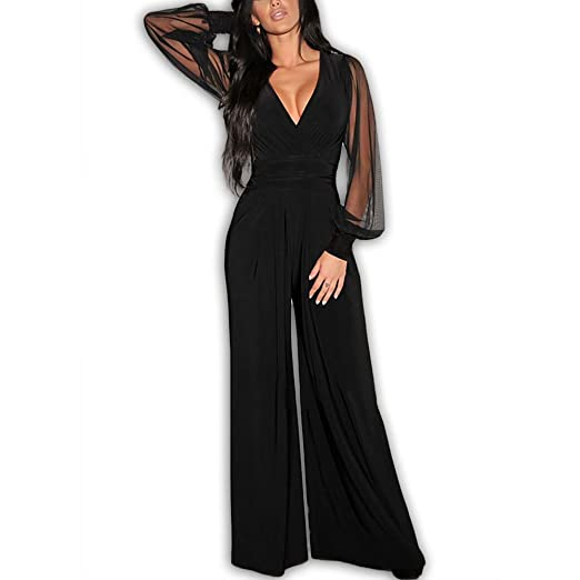 eab86daa7c05 6650 - Plus Size Mesh Sleeves V Neck Long Jumpsuit Black at Amazon ...