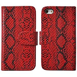 DUR Angibabe Snake Pattern PU Leather Case Stand Cover Case for iPhone 5 / 5s , White