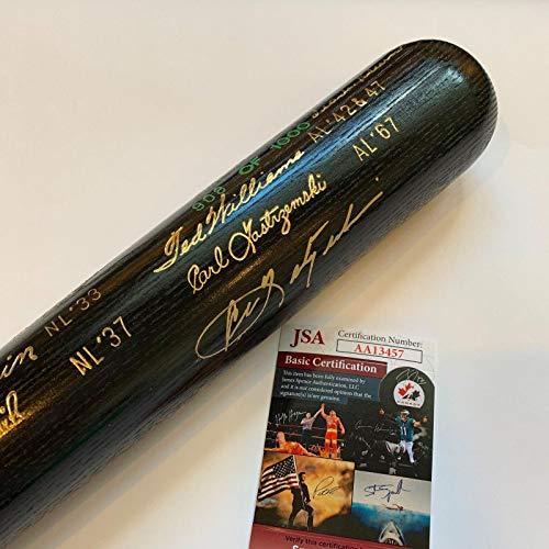 - Carl Yastrzemski & Frank Robinson Signed Triple Crown Commemorative Bat COA - JSA Certified - Autographed MLB Bats
