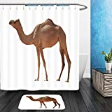 Vanfan Bathroom 2Suits 1 Shower Curtains & 1 Floor Mats arabian camel isolated on white background 346709216 From Bath room