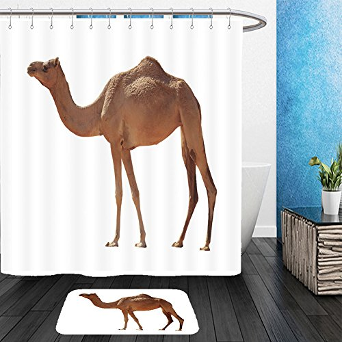 Vanfan Bathroom 2?Suits 1 Shower Curtains & ?1 Floor Mats arabian camel isolated on white background 346709216 From Bath room by vanfan
