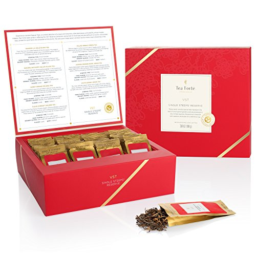 Tea Forté Single Steeps Loose Leaf TEA CHEST, Limited Edition Loose Leaf Tea Reserve, Varietal Special Teas (VST) Sampler, 28 Single Serve Pouches – Black Tea, Green Tea, Herbal Tea (Red Basket Farm)