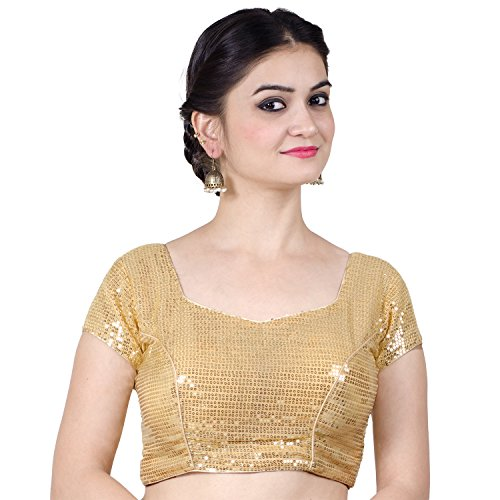 (Chandrakala Women's Designer Bollywood Readymade Gold Saree Blouse Padded Brocade Choli-Large (B107GOL4) )