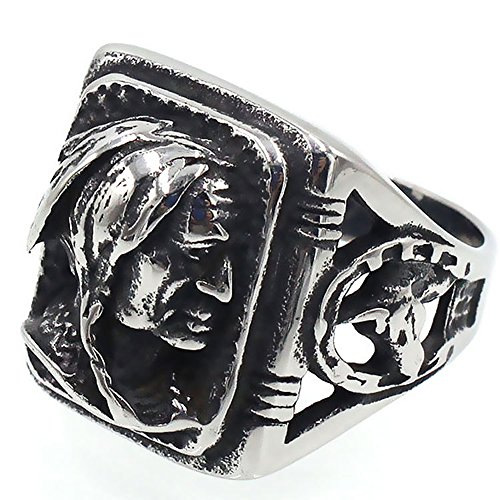 (JAJAFOOK Mens Vintage Classic Stainless Steel Ring Biker Native American Indian Women Head Rings Silver Black)