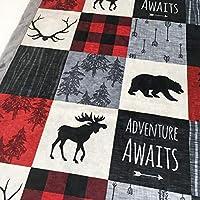 "Baby Boy Woodland Deer Moose Bear Adventure Awaits Patchwork Minky Blanket Infant Toddler 28""x40"""