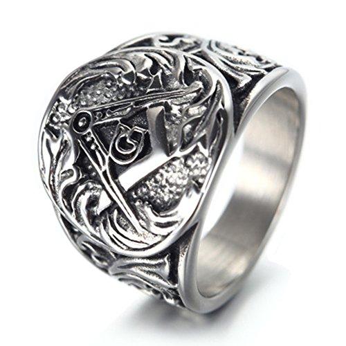 (INMUINS Mens & Boys Retro Masonic Titanium Steel Male Rings Silver Size 11)