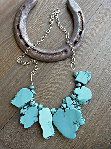 Slab Turquoise Necklace - Turquoise blue howlite stone and silver metal, chunky one layer necklace. Bohemian, Boho, handmade jewelry, jewellery. Fashion and accessories.