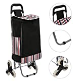 Opino 150 lbs Folding Shopping Cart Climbing Trolly, Waterproof Grocery Laundry Utility Cart with Wheel Bearings Stainless Steel (Type5_Black)
