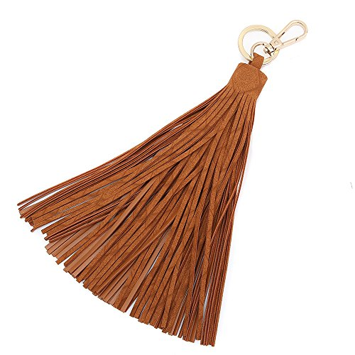 Brown Tassel - Keychain Key Tag Travel Luggage Tag Baggage Handbag accessory small hanging tassel (Medium, Tan)