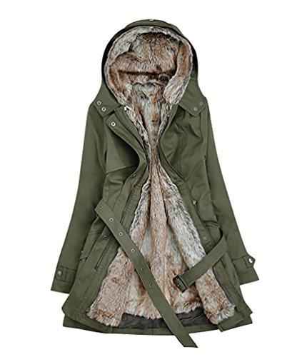 Manteau Veste De Faux Ceinture Verte Fourrure Parka Armée À Avec Capuchon D'hiver Youjia Femme Trench Capuche 0qvRp