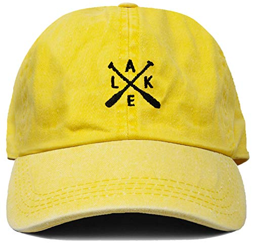 Funky Junque Dad Hat Unisex Cotton Low Profile Distressed Vintage Baseball Cap (Lake - Yellow) -