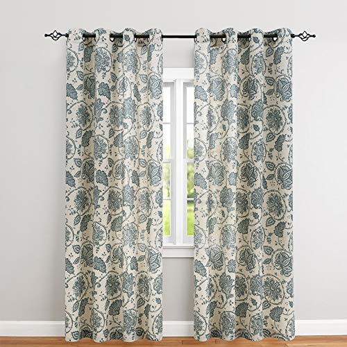 Floral Scroll Printed Linen Curtains, Grommet Top - Ikat Flax Textured Medallion Design Jacobean Floral Printed Curtains Retro Living Room Curtain Sets (Teal, 95 inch Long, One Pair) ()