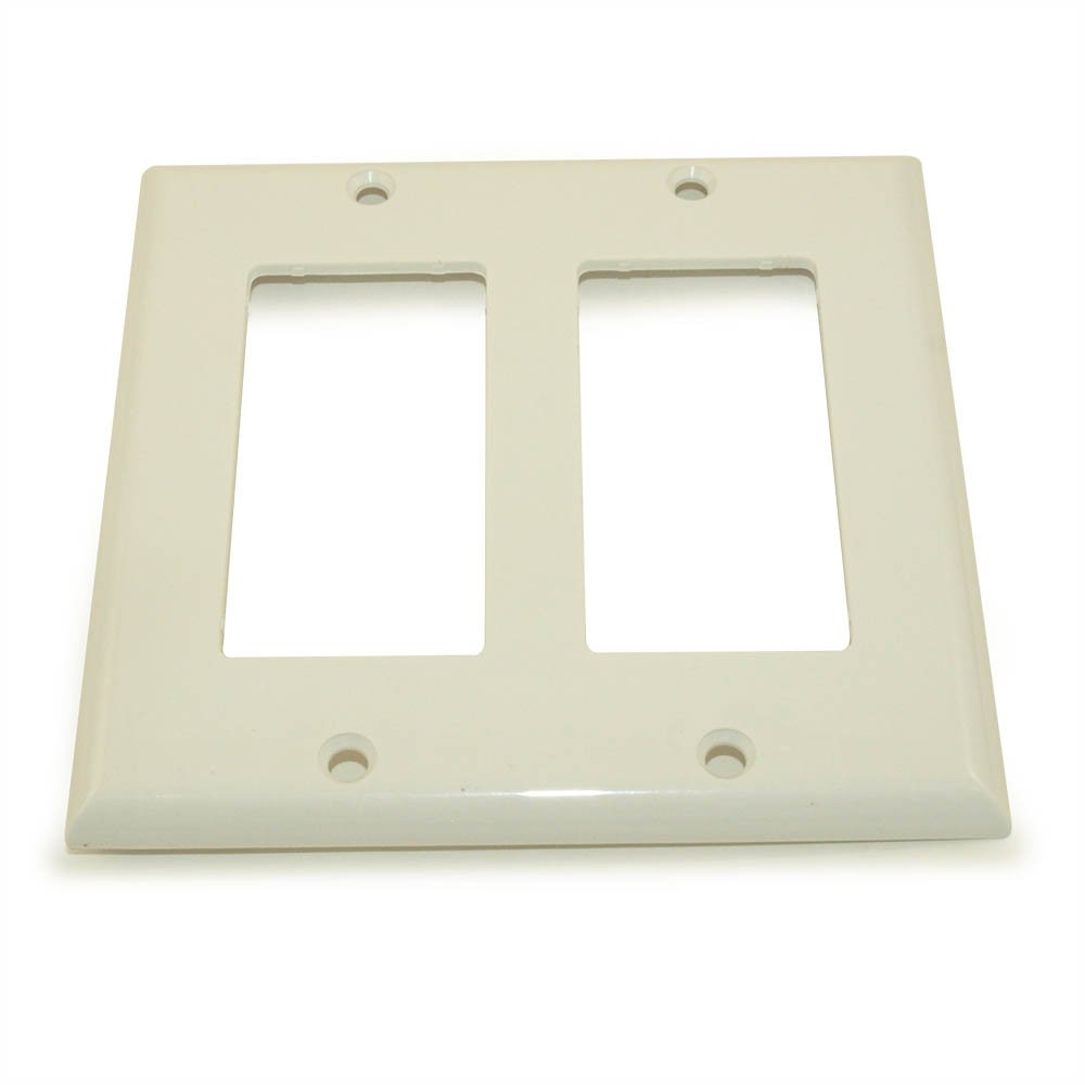 MyCableMart Wall Plate: 2 Gang Decor Plate Frame, White