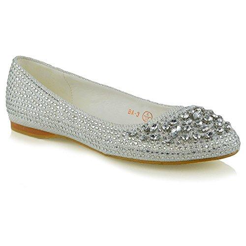 ESSEX Glitter Nuziale Scarpa Glitter Ballerina Diamante Donna GLAM Avorio rqRg7r