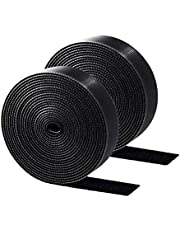 ENVEL Reusable Fastening Cable Ties, 2 Rolls Hook and Loop Cable Straps Adjustable Cord Ties for Cable Management Cord Organizer Straps Black (6m*2)