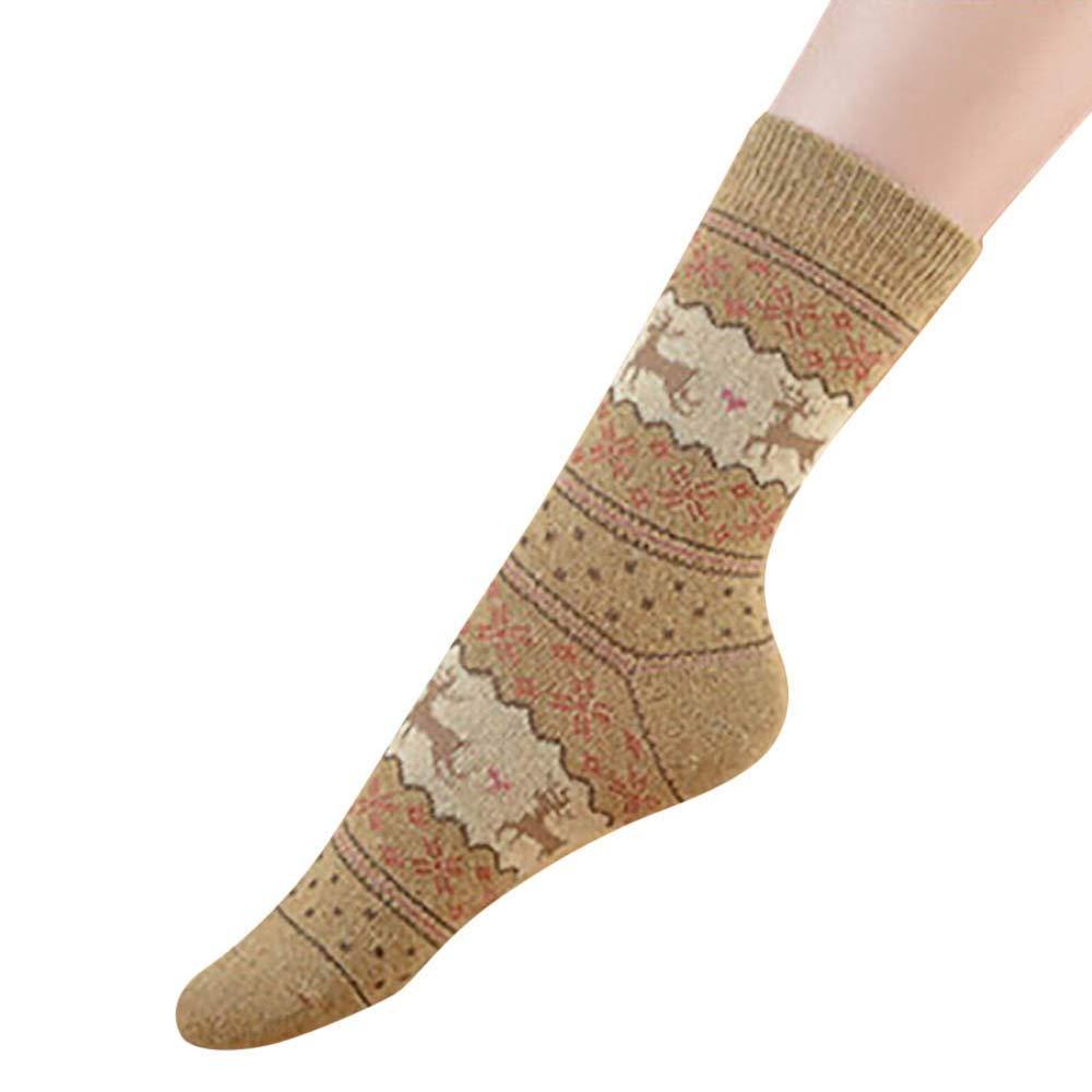 Kingspinner 2 Pairs Women Men Vintage Cute Christmas Elks Snowflakes Socks Middle Tube Socks (Khaki)