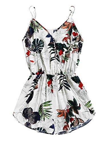 SheIn Women's V Neck Tropical Print Elastic Waist Tulip Hem Cami Romper Medium Multicolor