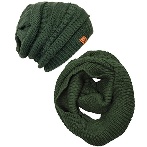 Wrapables Winter Warm Knitted Infinity Scarf and Beanie Hat Set, Hunter Green