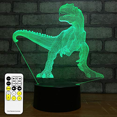 NISUNS 3D Dinosaur Night Light, 7 Colors Changing LED Kids Nightlight with Smart Touch & Remote Control, Gifts Ideas for Valentines Day Birthday (Dinosaur Tyrannosaurus)