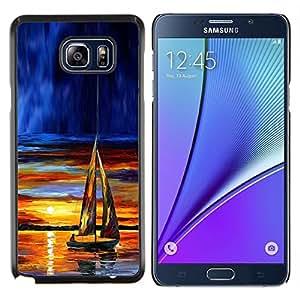 KLONGSHOP // Cubierta de piel con cierre a presión Shell trasero duro de goma Protección Caso - Velero Sunset - Samsung Galaxy Note 5 5th N9200 //