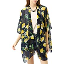 Afibi Summer Womens Beach Bikini Cover up Chiffon Floral Kimono Swimwear Loose Cardigan