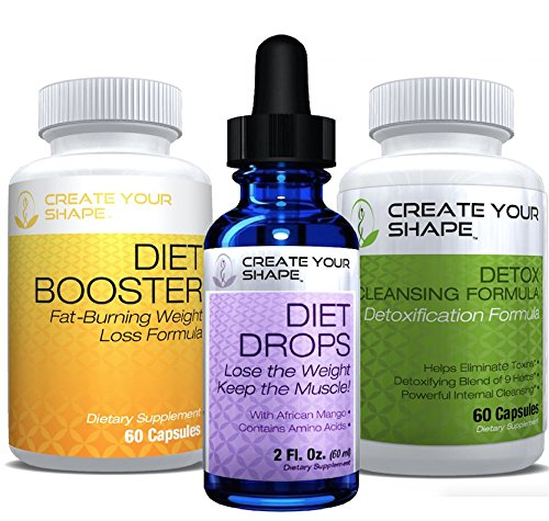 Diet Booster Diet Pills + Detox Cleanse + Diet Drops - 3 Pack - Lose Weight - Amino Acids - Appetite Suppressant - Lose Belly Fat - Weight Loss Pills - FAST Weight Loss