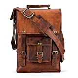 TUZECH Durable Pure Leather Vintage Messenger Satchel Stylish Bag- Fits 11 Inches Laptops