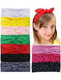 Qinghan 10pcs Baby Girl Headbands Turban Hair Bows For...